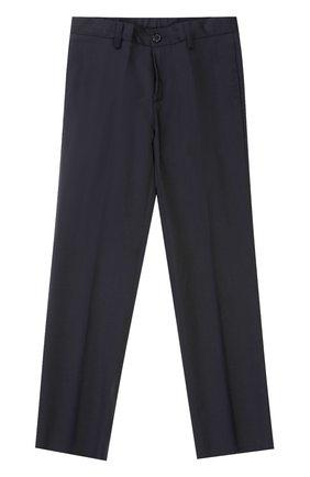 Детские шерстяные брюки прямого кроя Dal Lago темно-синего цвета | Фото №1