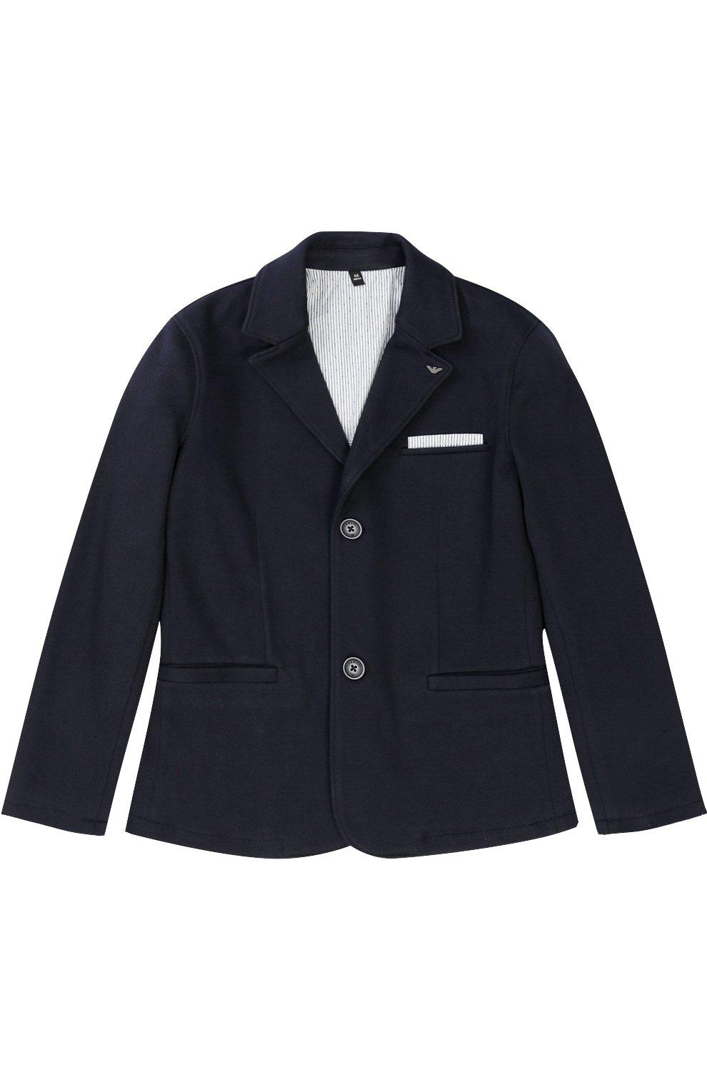 Однобортный пиджак джерси с логотипом бренда   Фото №1