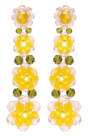 Серьги из бусин в виде цветов Simone Rocha желтые | Фото №1