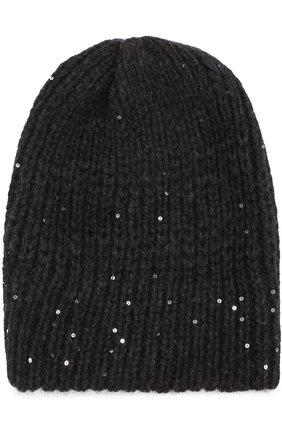 Вязаная шапка с отделкой из пайеток Koshakova черного цвета   Фото №1