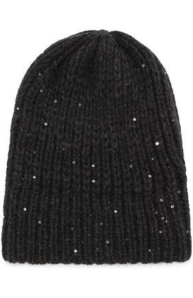 Вязаная шапка с отделкой из пайеток Koshakova черного цвета | Фото №1