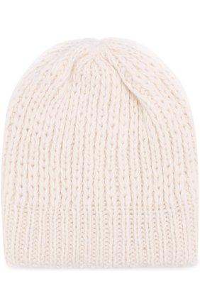 Шерстяная шапка фактурной вязки Koshakova белого цвета | Фото №1