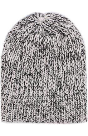 Шерстяная шапка фактурной вязки Koshakova черно-белого цвета   Фото №1