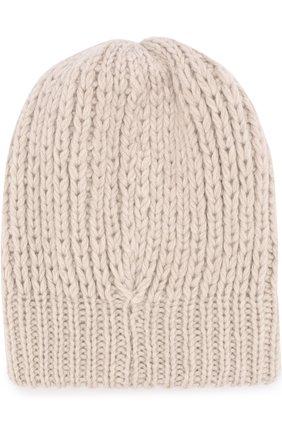 Шерстяная шапка фактурной вязки Koshakova бежевого цвета   Фото №1