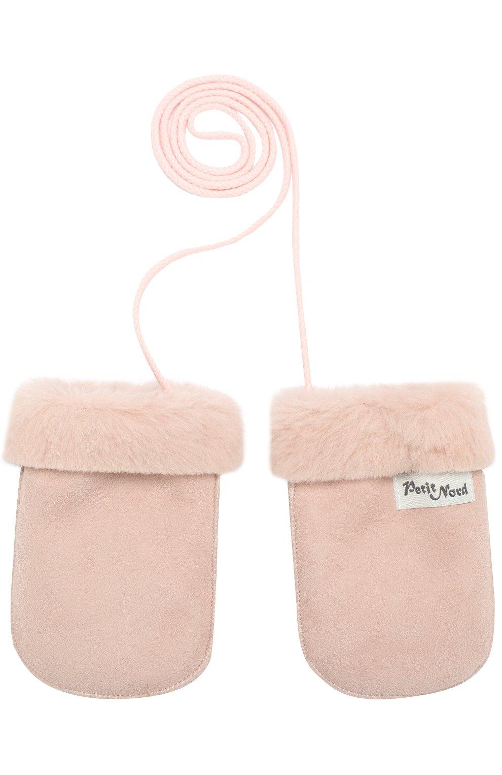 Детские кожаные варежки с отделкой мехом PETIT NORD розового цвета, арт. 2110   Фото 1