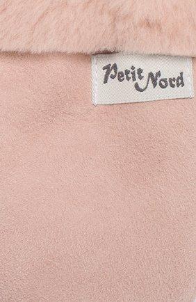 Детские кожаные варежки с отделкой мехом PETIT NORD розового цвета, арт. 2110   Фото 2