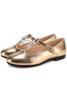 Туфли из металлизированной кожи с аппликацией и ремешком | Фото №1