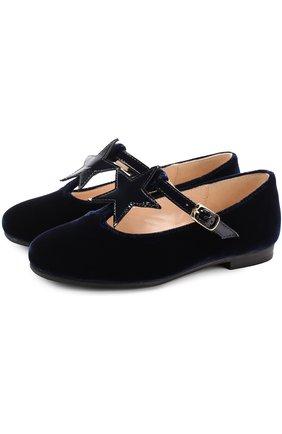 Текстильные туфли с аппликацией и кожаным ремешком | Фото №1