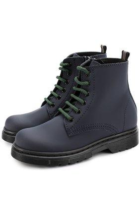 Кожаные ботинки на шнуровке с молнией | Фото №1