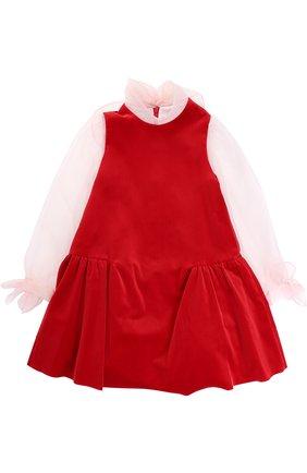 Хлопковое мини-платье с бантами | Фото №1