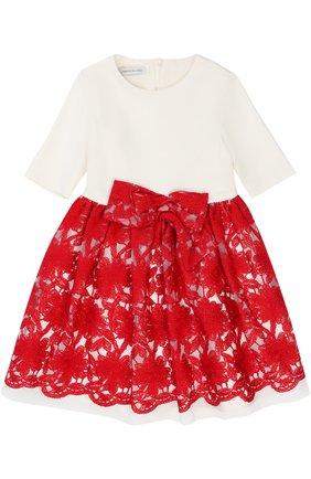 Платье из смеси вискозы и хлопка с вышивкой и бантом | Фото №1