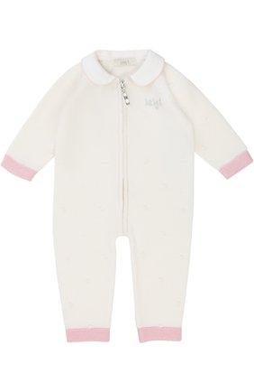 Детский шерстяной комбинезон фактурной вязки на молнии с контрастной отделкой BABY T белого цвета, арт. 17AI111TZ/1M-12M | Фото 1