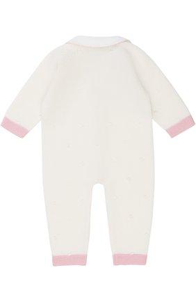 Детский шерстяной комбинезон фактурной вязки на молнии с контрастной отделкой BABY T белого цвета, арт. 17AI111TZ/1M-12M | Фото 2