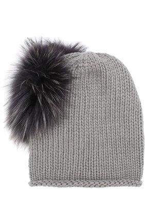 Кашемировая шапка с меховым помпоном Inverni серого цвета   Фото №1