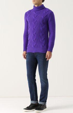 Кашемировый свитер фактурной вязки Turnbull & Asser фиолетовый | Фото №1