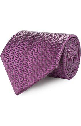 Шелковый галстук с узором Charvet фиолетового цвета | Фото №1
