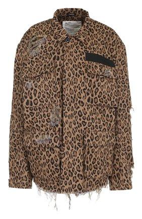 Куртка с потертостями и леопардовым принтом | Фото №1