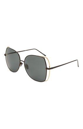 Женские солнцезащитные очки LINDA FARROW черного цвета, арт. LFL590C7 SUN   Фото 1