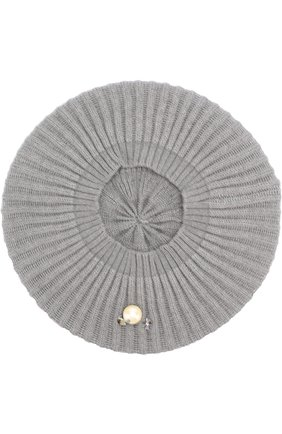 Вязаный берет из кашемира с декором Inverni серого цвета   Фото №1