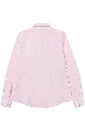 Детская хлопковая рубашка прямого кроя в полоску Dal Lago розового цвета | Фото №1