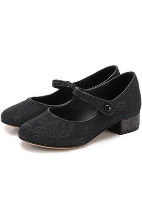 Текстильные туфли с глиттером и ремешками | Фото №1