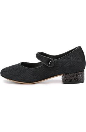 Текстильные туфли с глиттером и ремешками | Фото №2