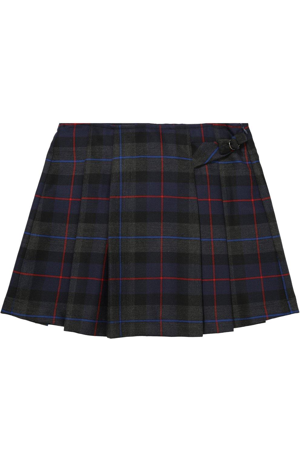 Шерстяная мини-юбка с принтом и складками | Фото №1