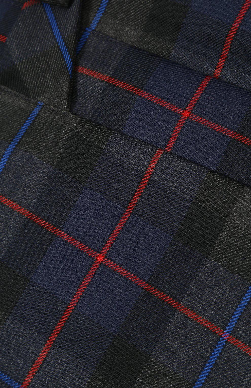 Шерстяная мини-юбка с принтом и складками | Фото №3
