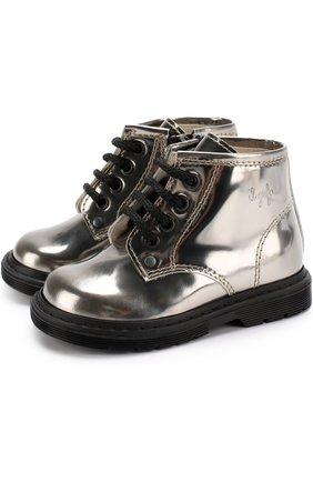 Ботинки из металлизированной кожи на шнуровке с молниями | Фото №1