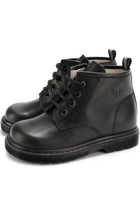 Кожаные ботинки на шнуровке с молниями | Фото №1