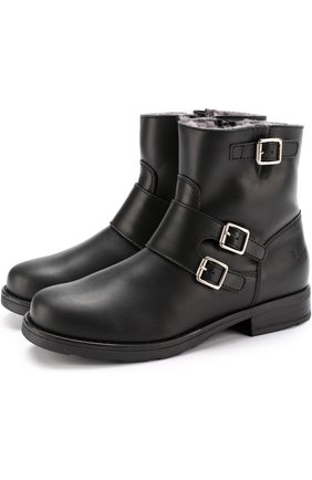 Кожаные ботинки с пряжками | Фото №1