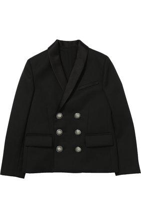 Шерстяной двубортный пиджак | Фото №1