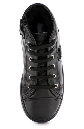 Детские утепленные кожаные кеды на шнуровке с молнией Dolce & Gabbana черного цвета | Фото №4
