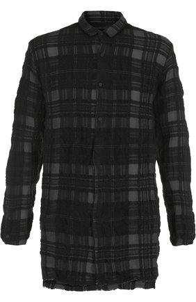 Удлиненная рубашка в клетку из смеси шерсти и хлопка