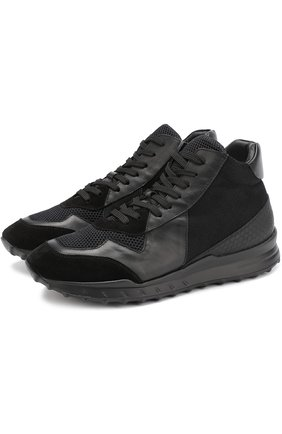 Высокие комбинированные кроссовки на шнуровке Beyond черные | Фото №1