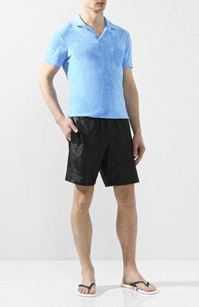 Мужское хлопковое поло с v-образным вырезом ORLEBAR BROWN светло-голубого цвета, арт. 259935 | Фото 2