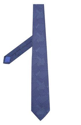 Шелковый галстук с узором Turnbull & Asser голубого цвета | Фото №1