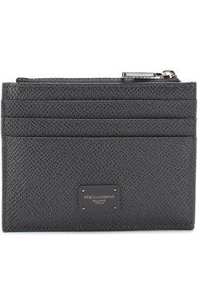 Кожаный футляр для кредитных карт с отделением для монет Dolce & Gabbana темно-серого цвета   Фото №1