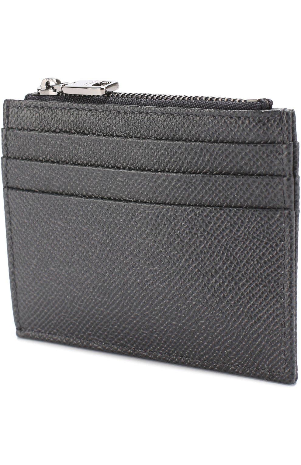 Кожаный футляр для кредитных карт с отделением для монет Dolce & Gabbana темно-серого цвета   Фото №2