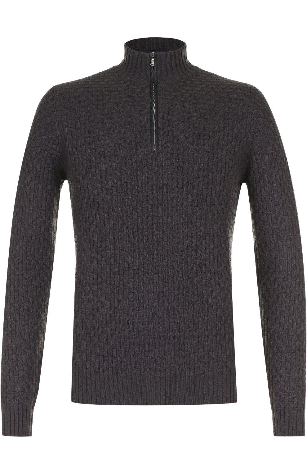Кашемировый свитер фактурной вязки с кожаной отделкой | Фото №1