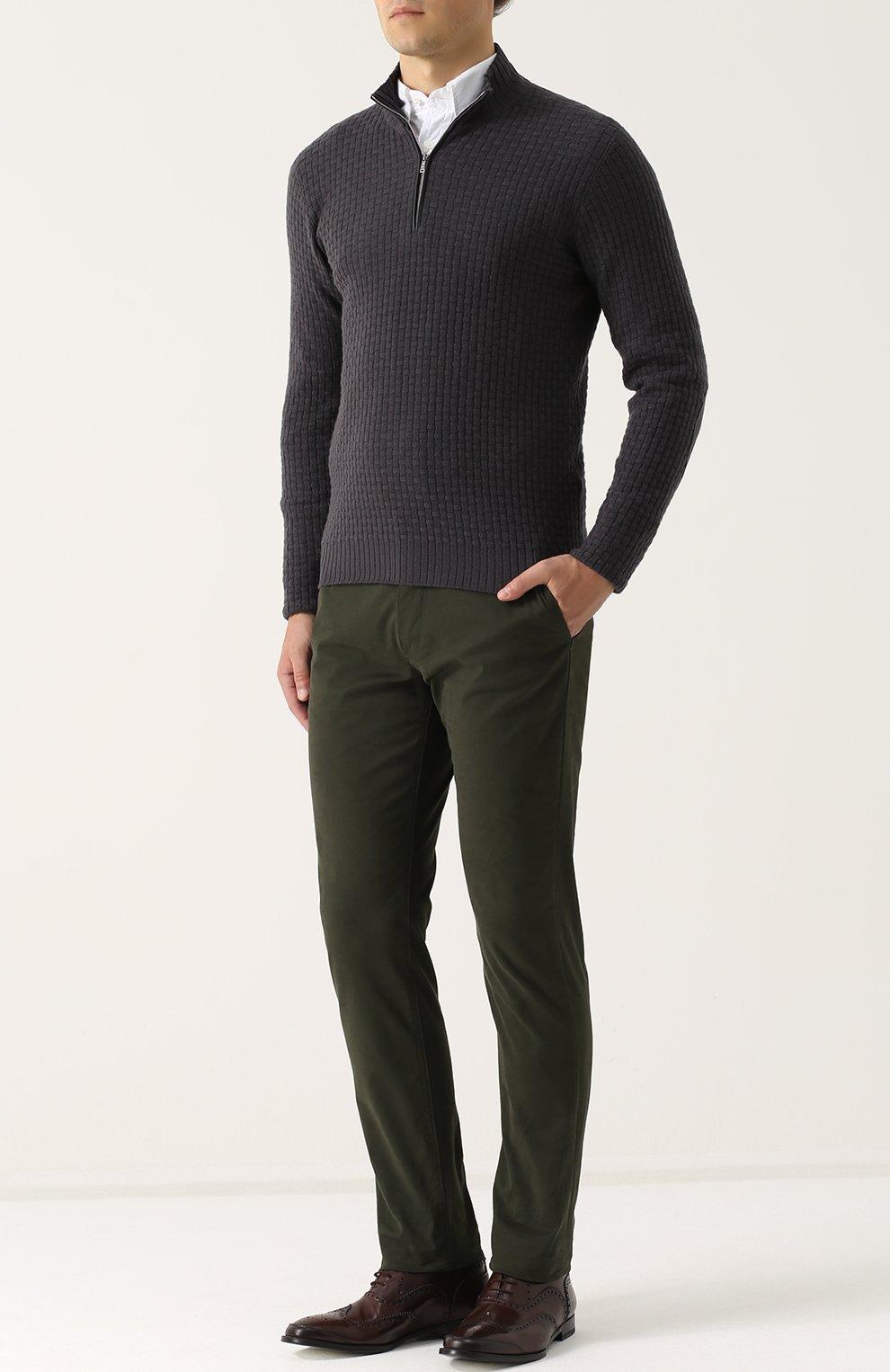 Кашемировый свитер фактурной вязки с кожаной отделкой | Фото №2
