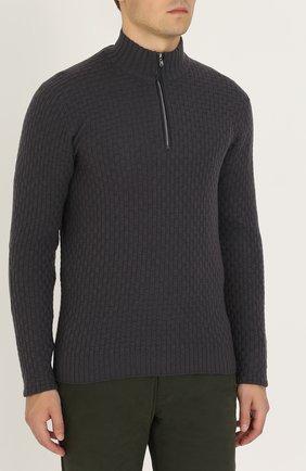 Кашемировый свитер фактурной вязки с кожаной отделкой | Фото №3
