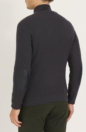 Кашемировый свитер фактурной вязки с кожаной отделкой | Фото №4