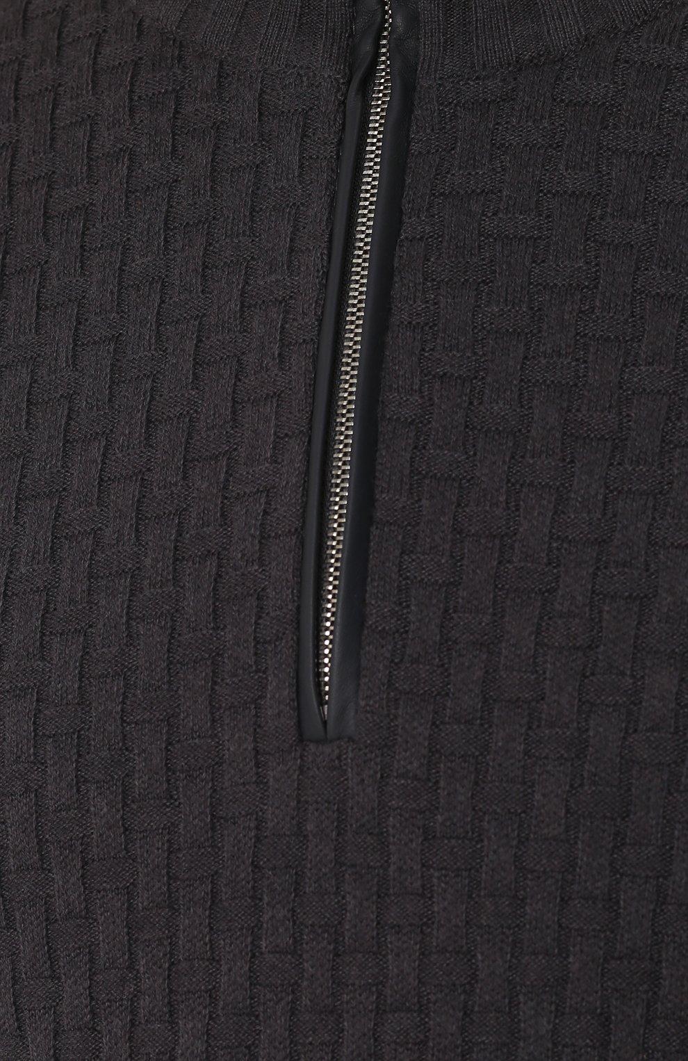 Кашемировый свитер фактурной вязки с кожаной отделкой | Фото №5