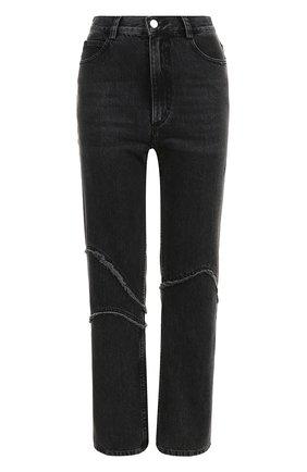 Укороченные джинсы прямого кроя с бахромой | Фото №1