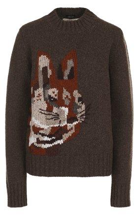 Вязаный шерстяной свитер с принтом | Фото №1