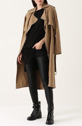 Женские джинсы-скинни с кожаной вставкой R13 черного цвета, арт. R13WM0041-73 | Фото 2