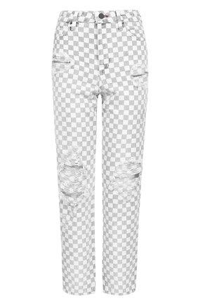 Укороченные джинсы в контрастную клетку | Фото №1