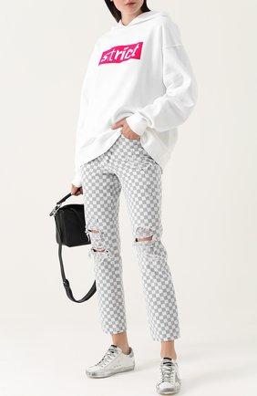 Укороченные джинсы в контрастную клетку Denim X Alexander Wang черно-белые | Фото №1