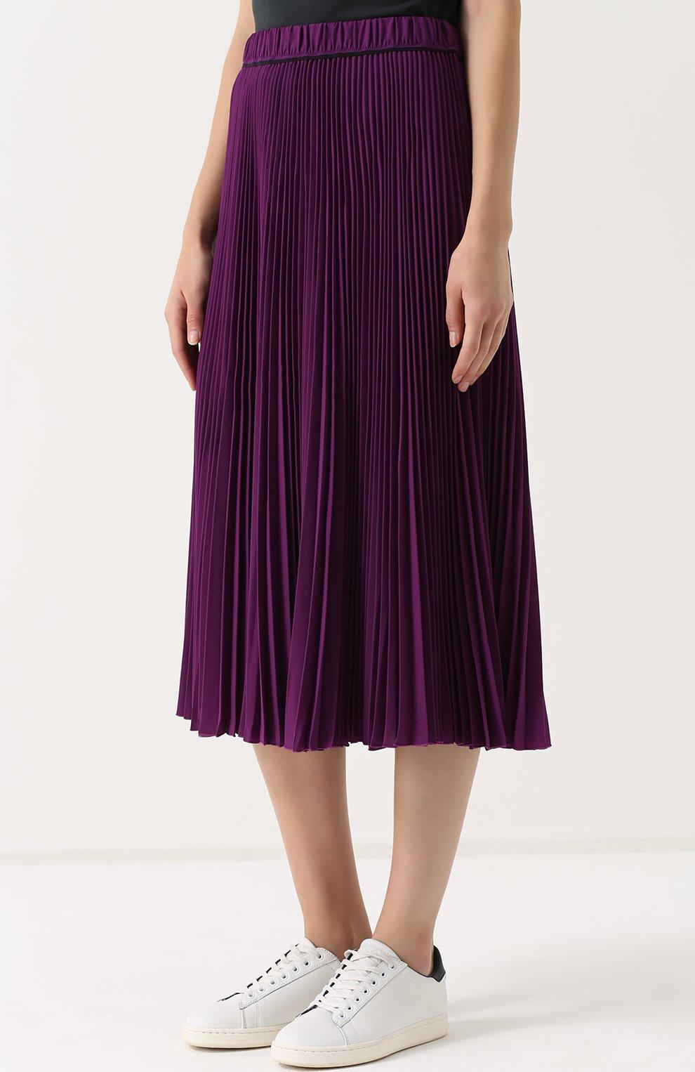 f0cd671bf730 Женская фиолетовая плиссированная юбка-миди MARC JACOBS — купить за 36500  руб. в ...